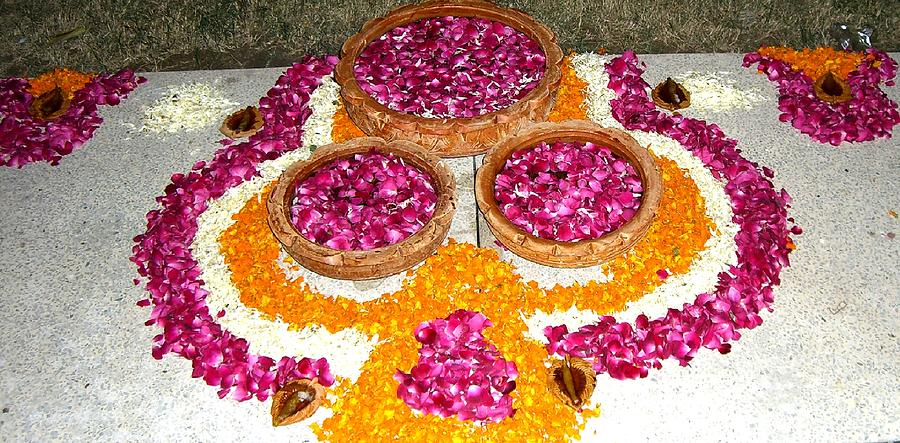Colours Photograph - Rangoli- Festive Colours by Sunaina Serna Ahluwalia