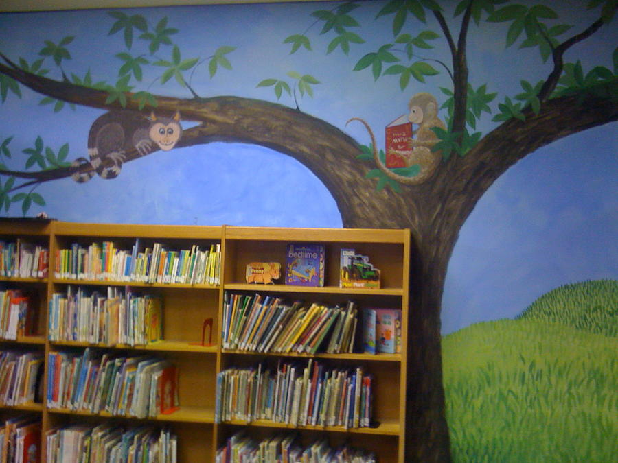 Reading Animals In The Kids Room At The Latt Maxcy Memorial Library Painting by Scott K Wimer