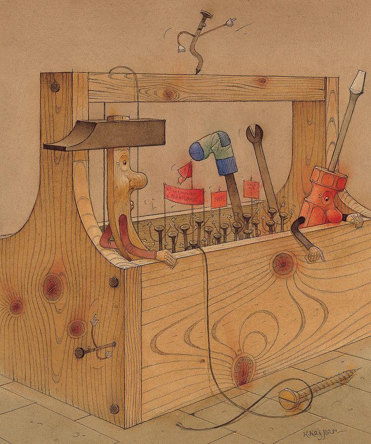 Instruments Tools Work Hammer Rebellion Revolution Brown Painting - Rebellion Against Dictator Hammer by Kestutis Kasparavicius