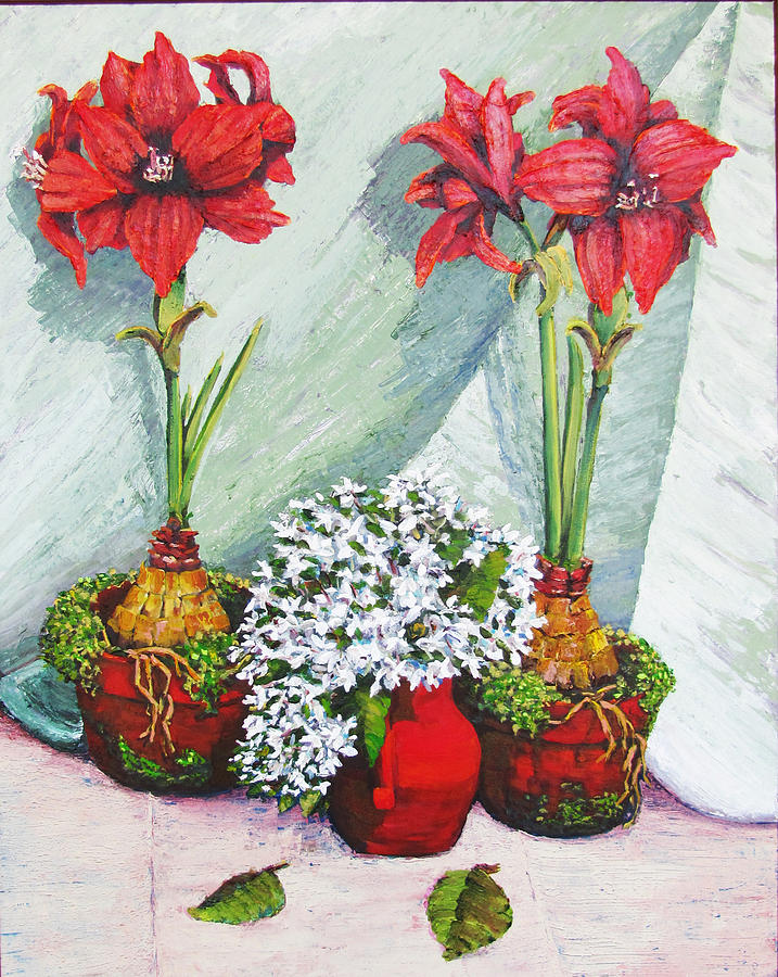Red Amaryllis Painting - Red Amaryllis With Shooting Star Hydrangea by Thomas Michael Meddaugh
