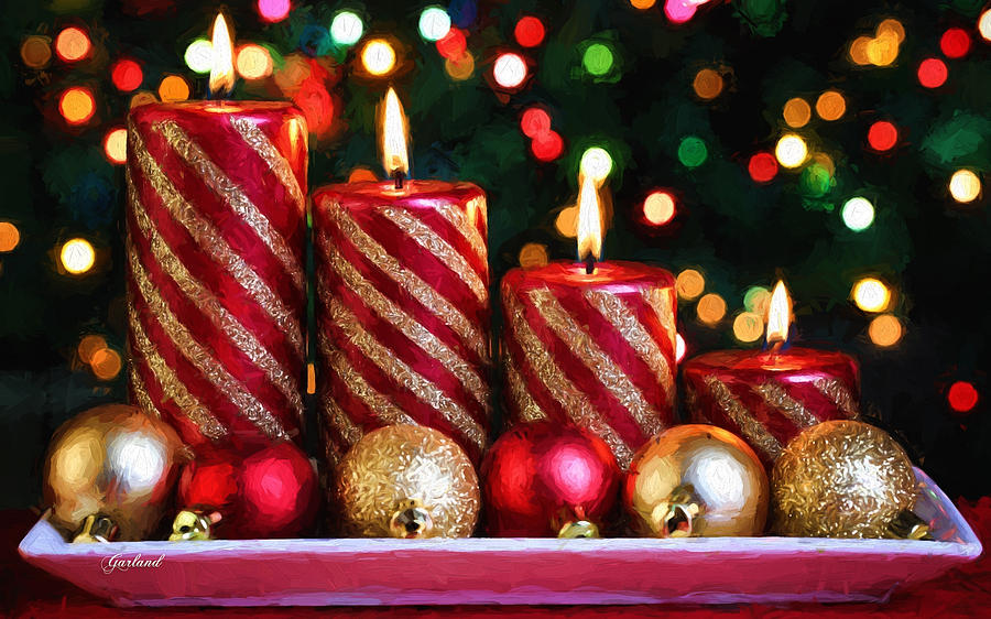Christmas Candles.Red And Gold Christmas Candles And Bulbs