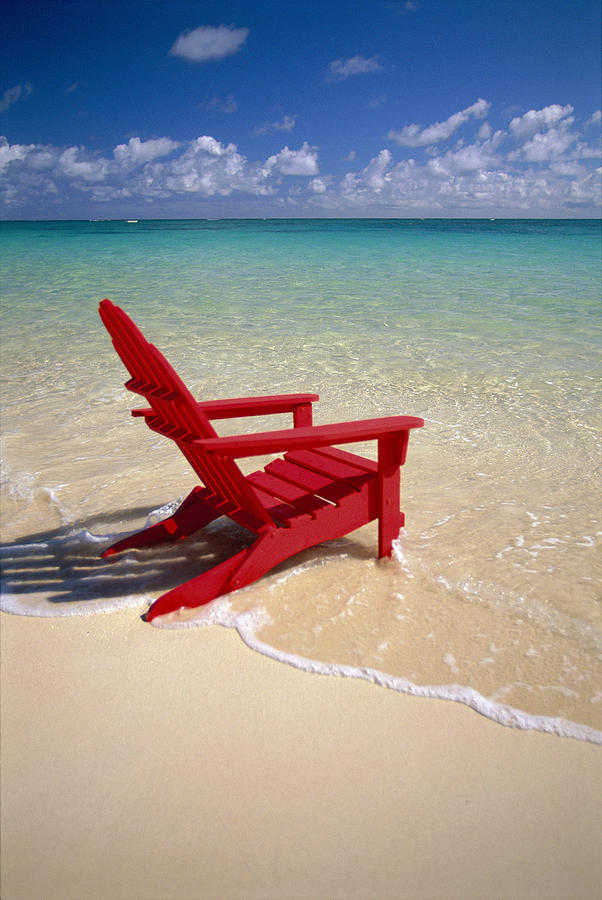 Red Beach Chair Photograph By Dana Edmunds Printscapes