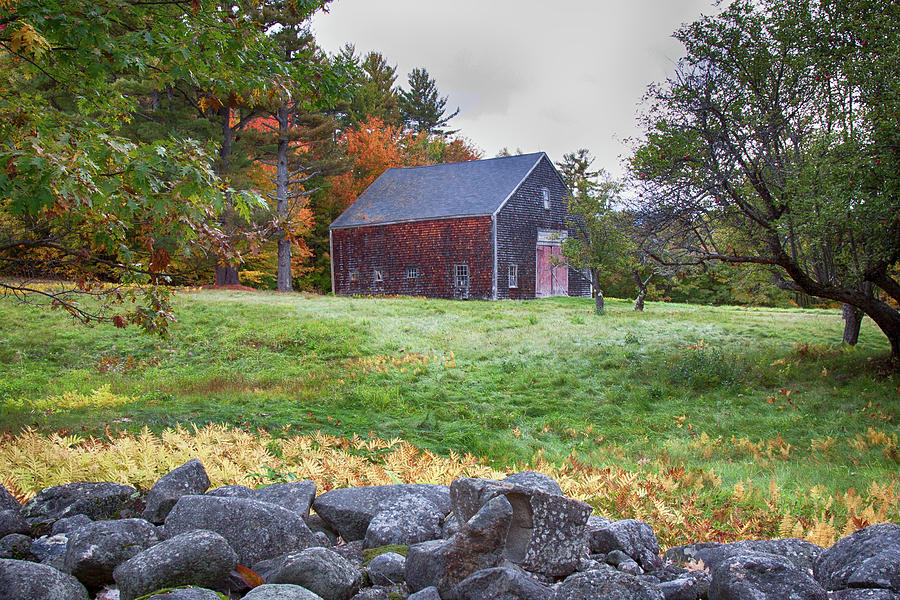 Fall Foliage Photograph   Red Door Barn By Jeff Folger