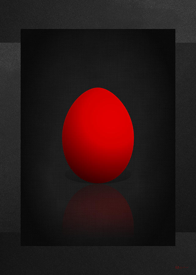 Egg Photograph - Red Egg on Black Canvas  by Serge Averbukh