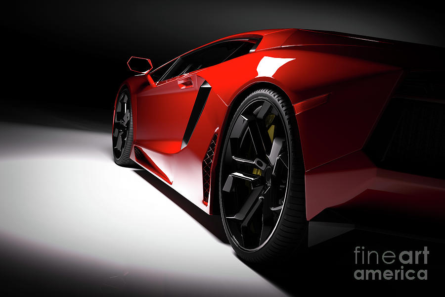 Red Fast Sports Car In Spotlight Black Background Shiny New Luxurious Photograph By Michal Bednarek