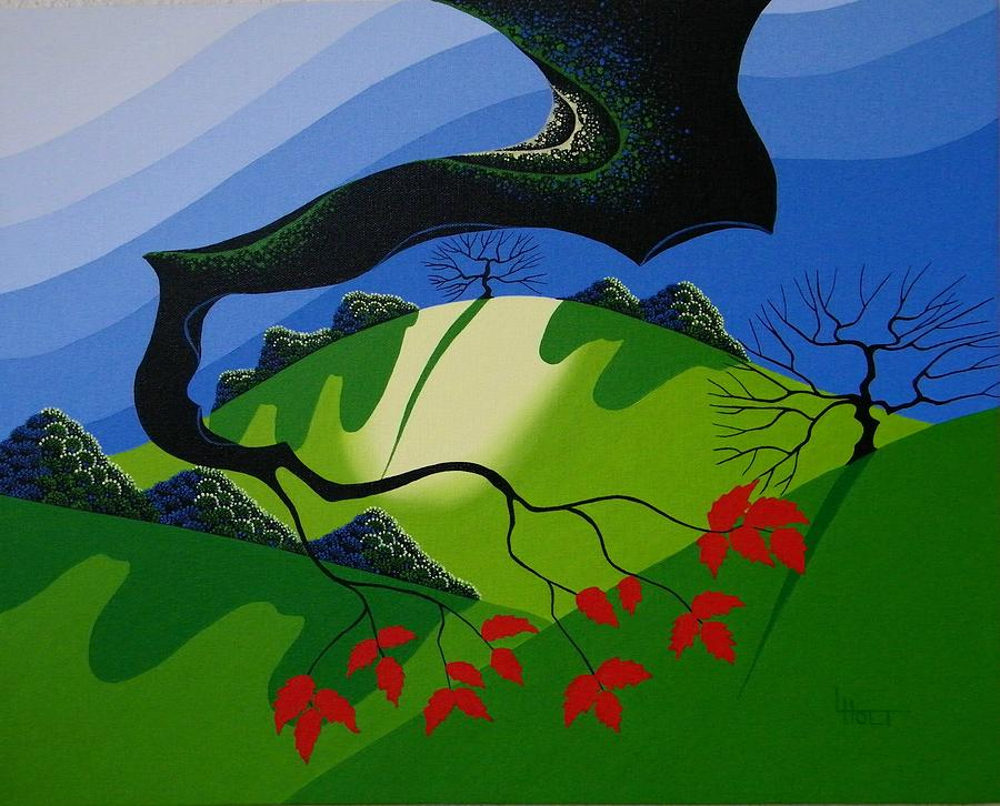 Branch Painting - Red Leaves by Larissa Holt
