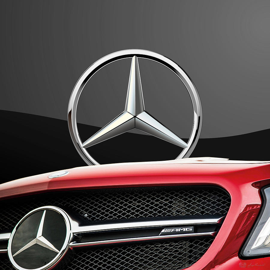 Car Photograph - Red Mercedes - Front Grill Ornament And 3 D Badge On Black by Serge Averbukh