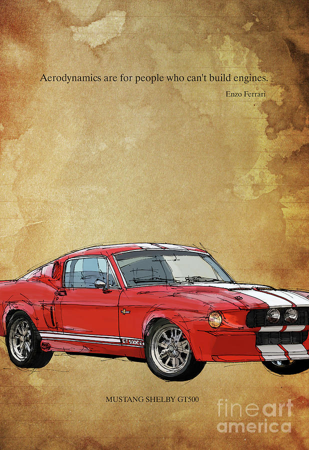 Red Mustang Gt500 Ayrton Senna Inspirational Quote Handmade Drawing Vintage Background