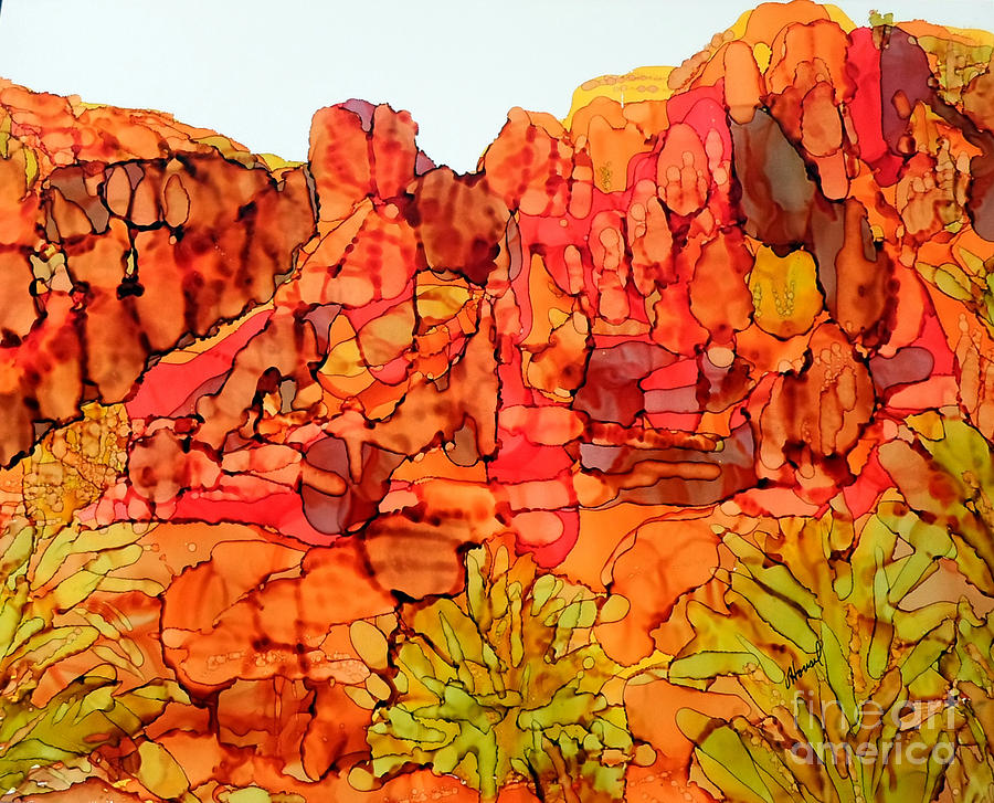 Alcohol Ink Painting - Red Rock Canyon Loop by Vicki  Housel