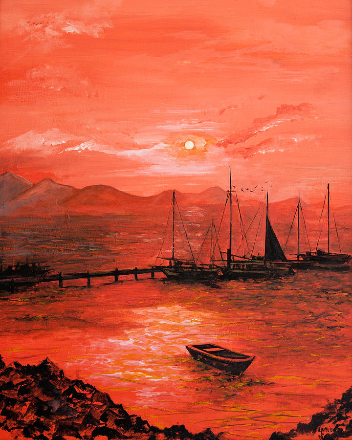 Red Sunset Painting - Red Sea Sunset by Jane Woodward