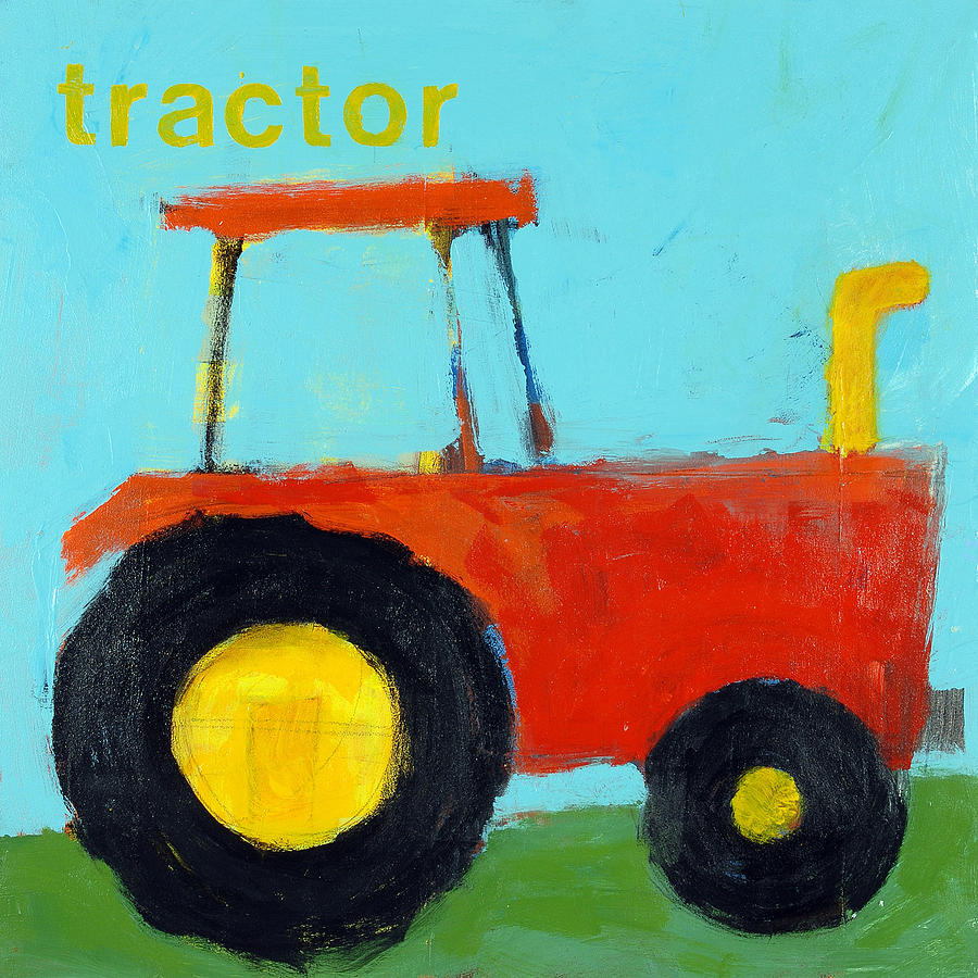 Farm Painting - Red Tractor by Laurie Breen
