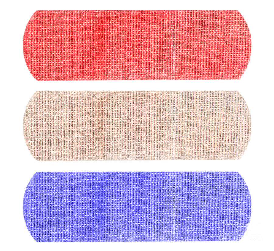 Bandage Photograph - Red White And Blue Bandaids by Blink Images
