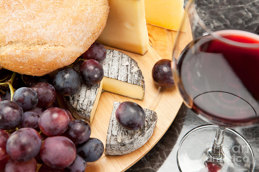 Wine Photograph - Red Wine With Wine Grapes Cheese Plate And Bread by Wolfgang Steiner & Red Wine With Wine Grapes Cheese Plate And Bread Photograph by ...