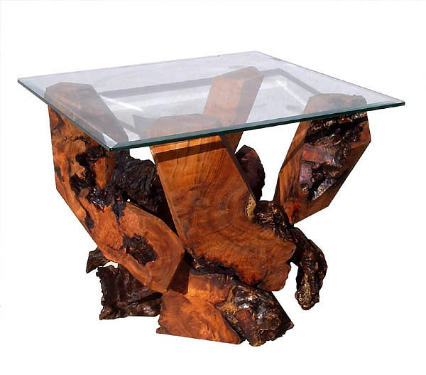 End Tables Sculpture - Redwood Glass Top End Table by Daryl Stokes