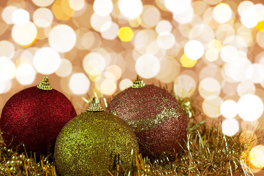 Backdrop Photograph - Red,yellow And Gold Cristmas Baubles by Boyan Dimitrov