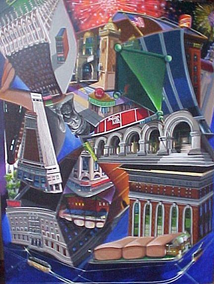 Street Scene Painting - Reflecting On A City by Bobbi Baltzer-Jacobo