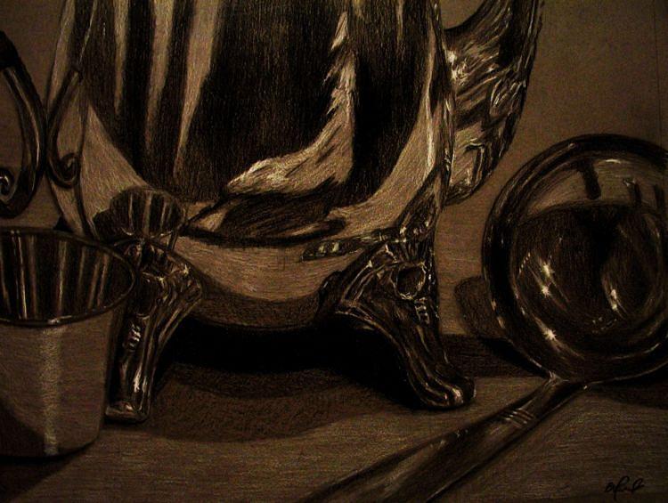 Still Life Drawing - Reflective Still Life by Benjamin Proulx