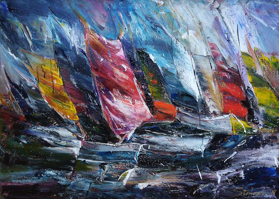 Boats Painting - Regatta by Stefano Popovski