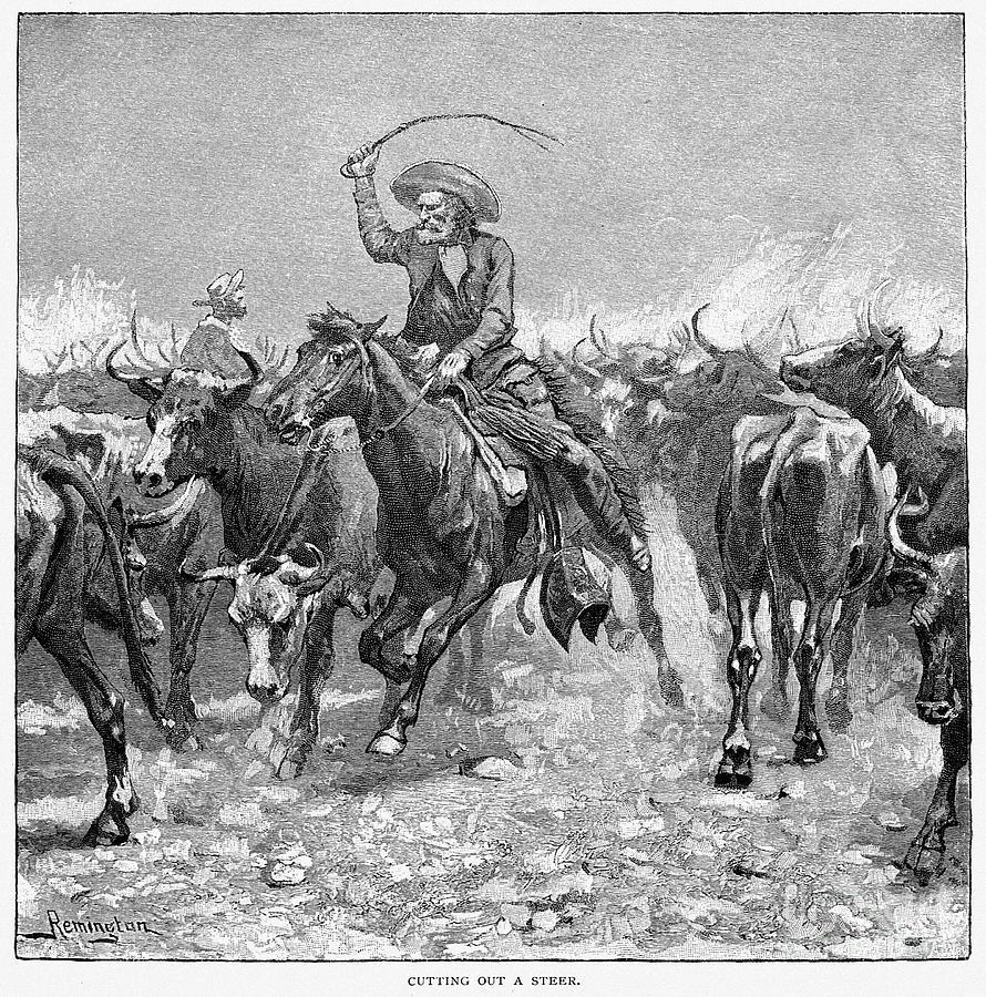 1888 Photograph - Remington: Cowboys, 1888 by Granger