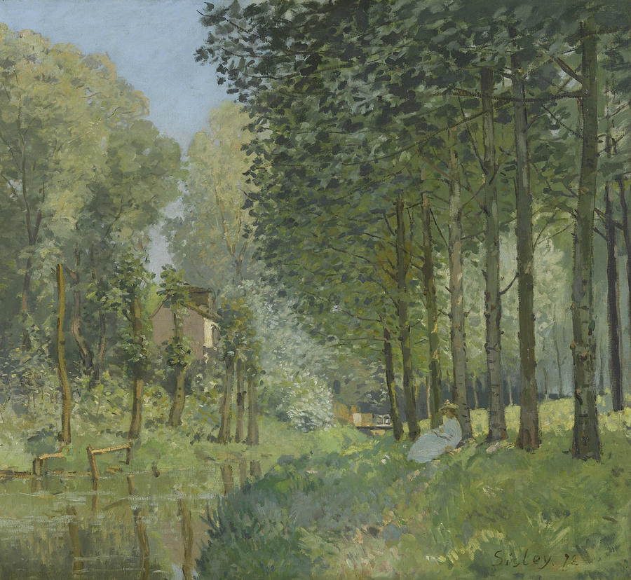 Alfred Sisley Painting - Rest Along The Stream  by Alfred Sisley