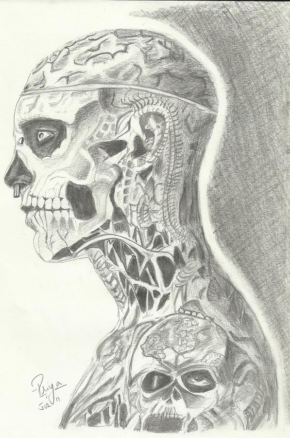 Zombie Boy Tottoed Man Drawing - Rick Genest by Priya Paul