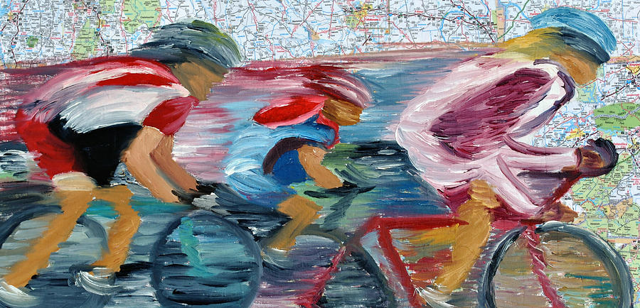 Cycling Paintings Painting - Riding The Roads by Michael Lee
