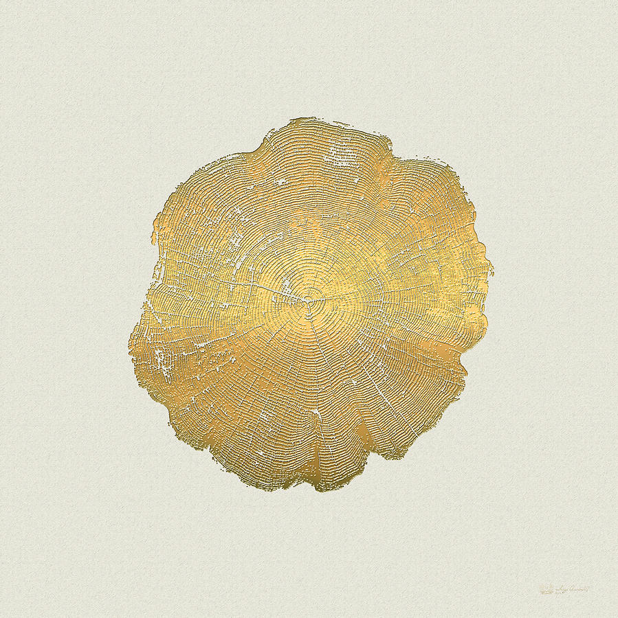 Nature Photograph - Rings of a Tree Trunk Cross-section in Gold on Linen  by Serge Averbukh