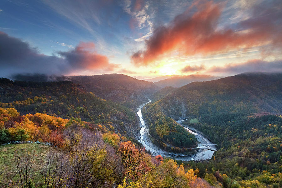Bulgaria Photograph - River Meander At Sunrise by Evgeni Dinev