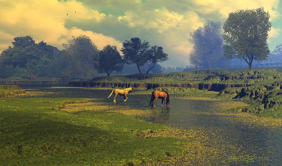 Horses Digital Art - River Waltz by Dieter Carlton