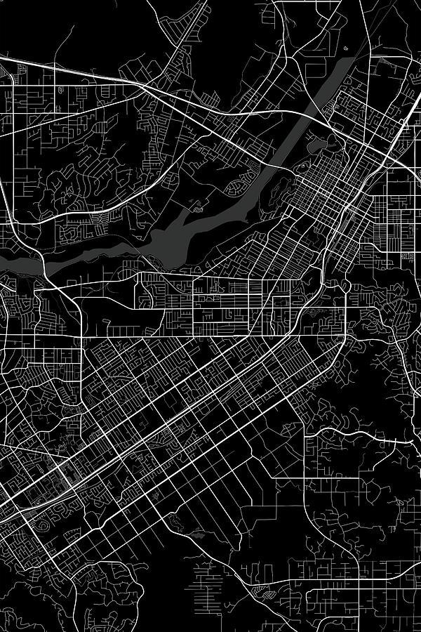 Riverside California Usa Dark Map by Jurq Studio