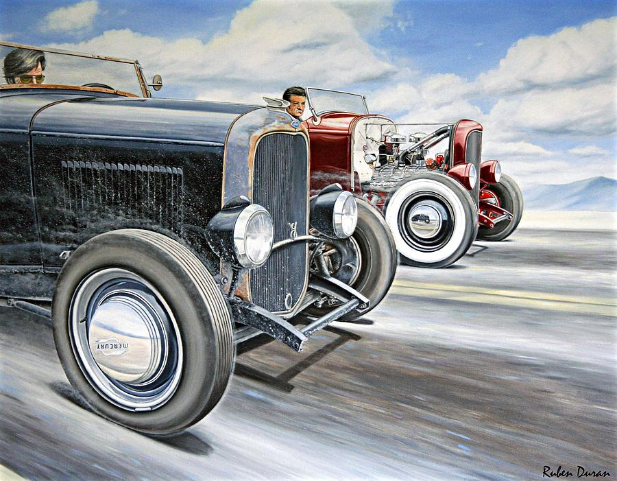 Hot Rod Race Painting - Roadster Race by Ruben Duran