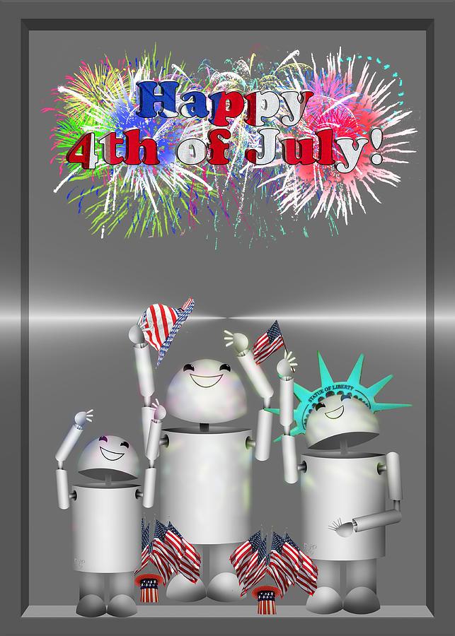 Gx9 Mixed Media - Robo-x9 Celebrates Freedom by Gravityx9  Designs