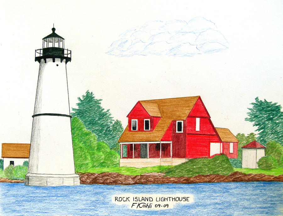 Historic Buildings Drawings Drawing - Rock Island Lighthouse by Frederic Kohli