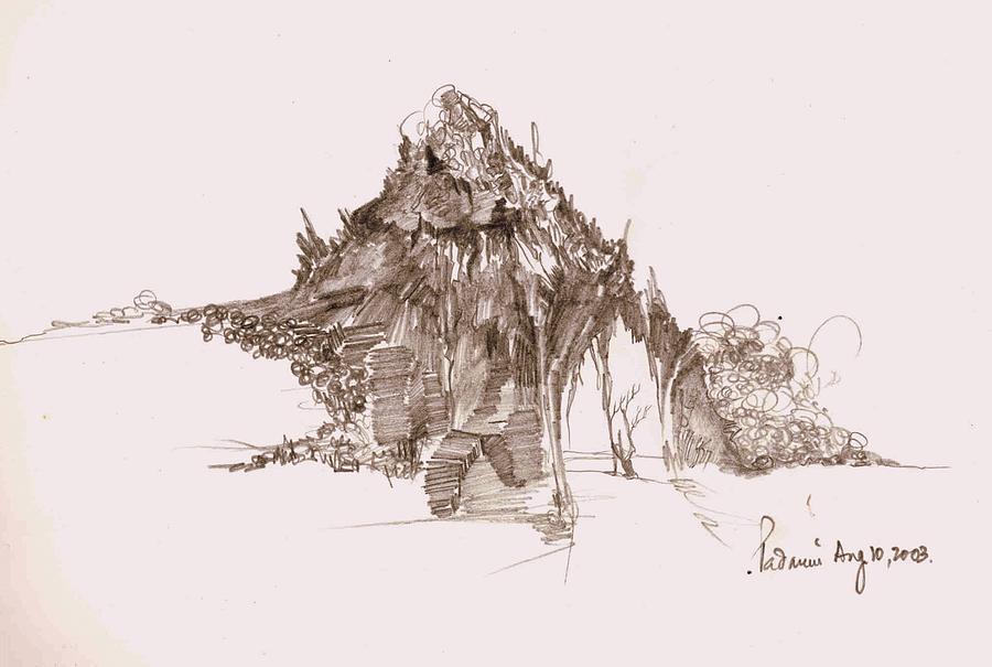 Landscape Drawing - Rocks And Stones by Padamvir Singh