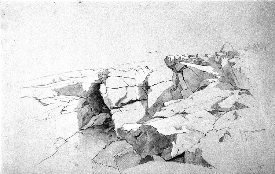 Rocks At Narragansett Painting