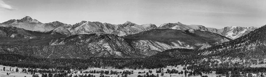 Rocky Mountain National Park Panorama Black White Photograph