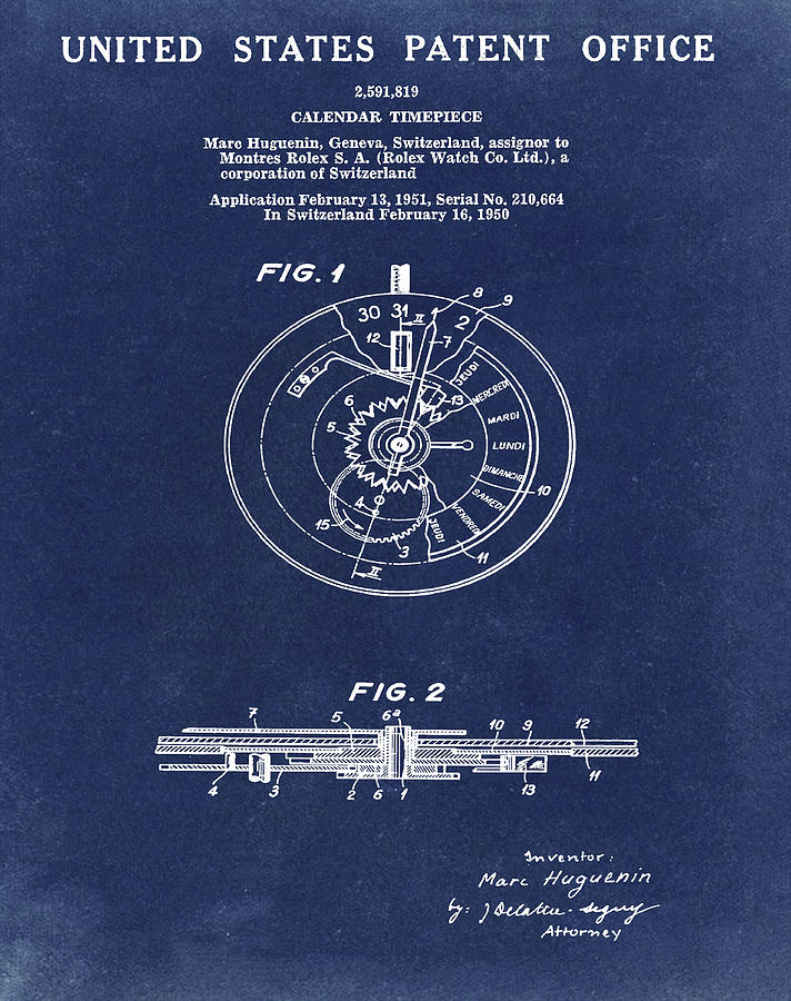 Rolex Drawing - Rolex Watch Patent 1999 In Blue by Bill Cannon
