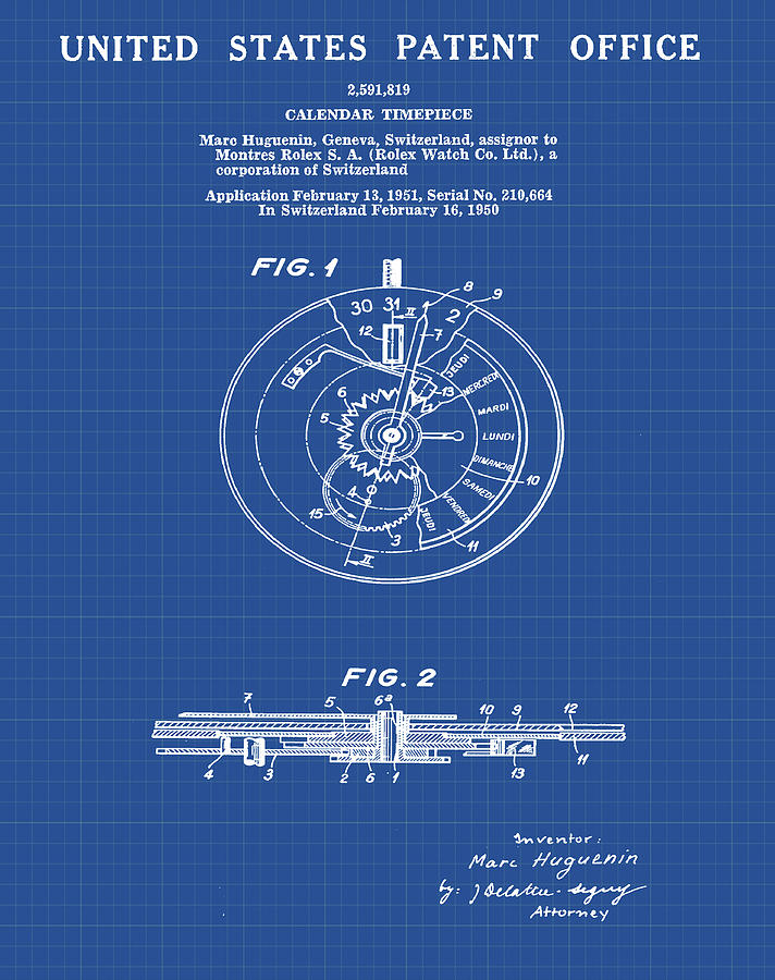 Rolex watch patent 1999 in blueprint drawing by bill cannon rolex drawing rolex watch patent 1999 in blueprint by bill cannon malvernweather Images
