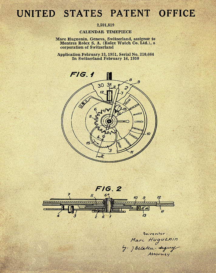 Rolex Drawing - Rolex Watch Patent 1999 In Sepia by Bill Cannon