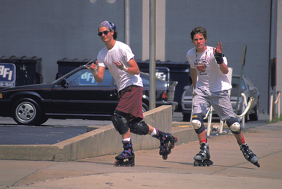 Two Photograph - Roller Bladers In Miami Beach by Carl Purcell