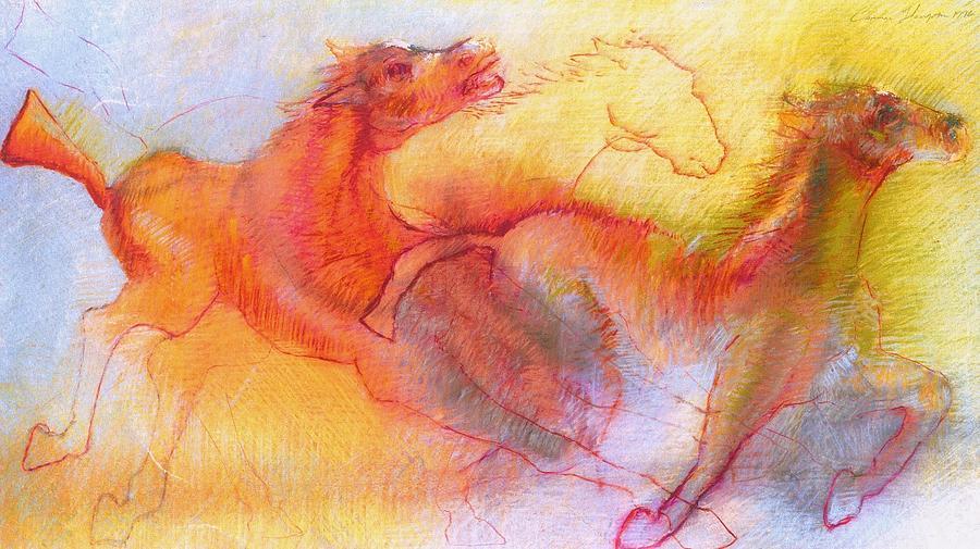 Roman Horses Pastel by Cameron Hampton P S A