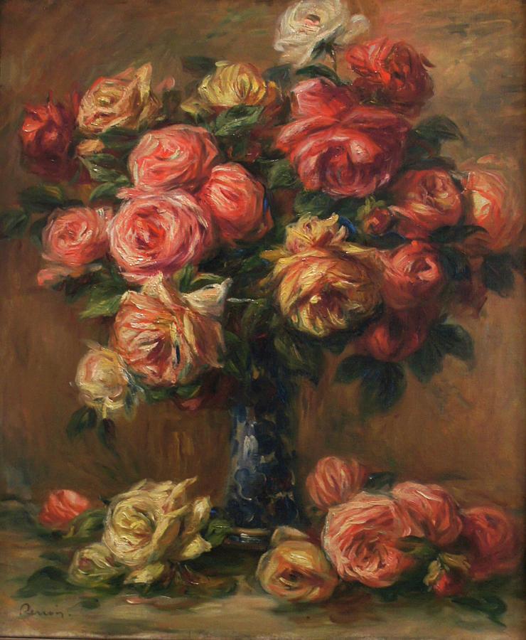Pierre Auguste Renoir Painting - Roses In A Vase by Pierre Auguste Renoir