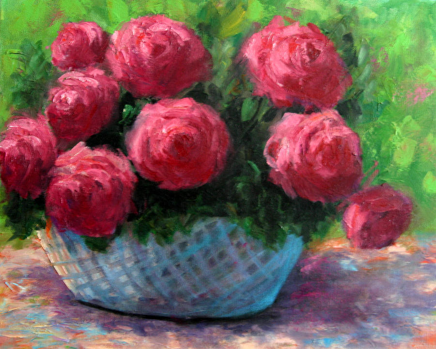 Still Life Painting - Roses In Sunshine by Lucy Williams