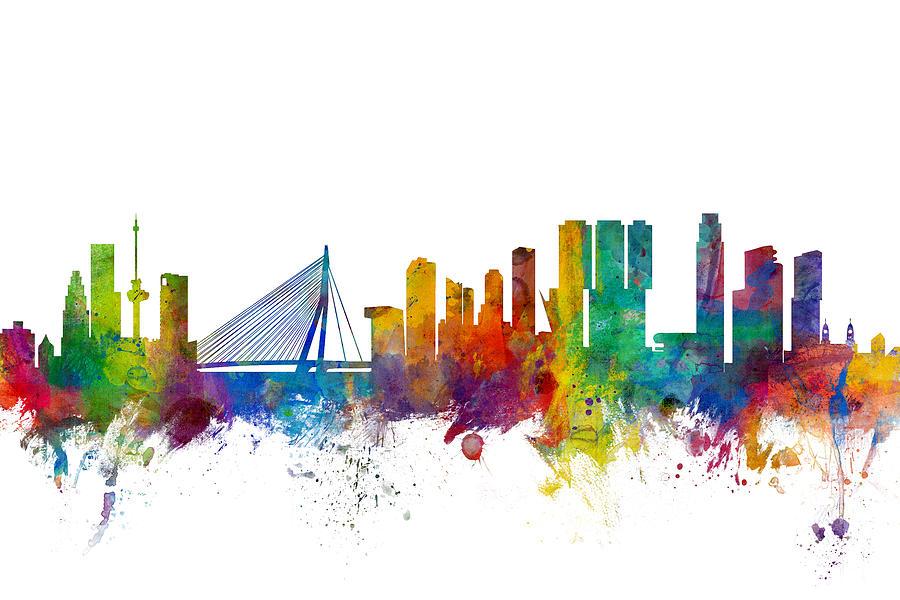 Rotterdam Digital Art - Rotterdam The Netherlands Skyline by Michael Tompsett