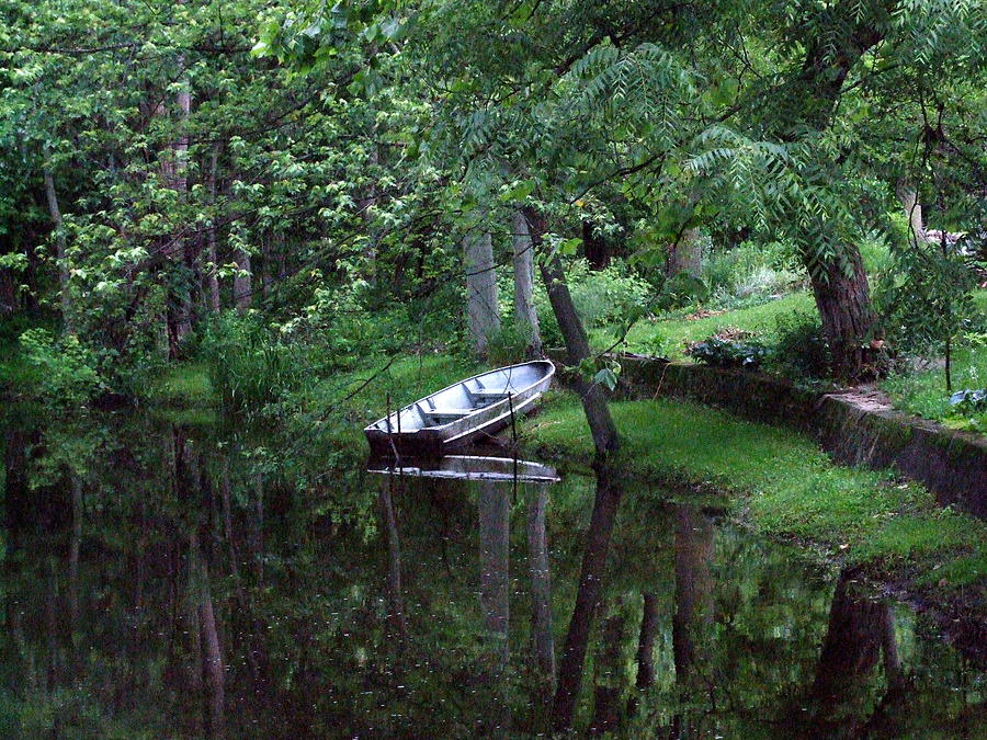 Water Photograph - Rowboat In Woods by Michael L Kimble
