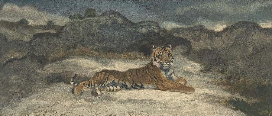 French Painter Drawing - Royal Tiger by Antoine-Louis Barye