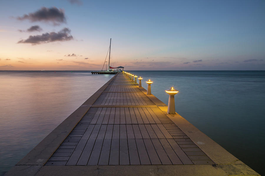 3scape Photograph - Rum Point Pier At Sunset by Adam Romanowicz