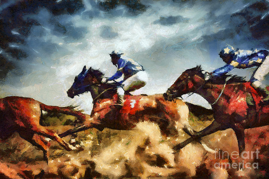 Painting Painting - Running Horses Competition Jockeys In Horse Race by Dimitar Hristov