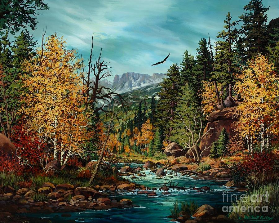 Mountain Painting - Sacred Path by W  Scott Fenton