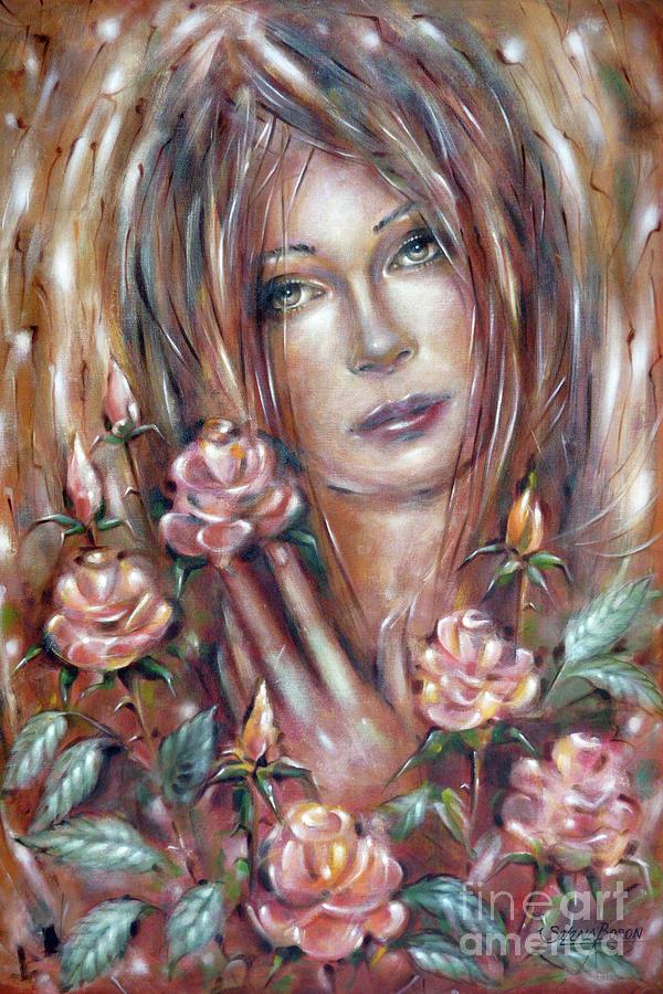 Woman Painting - Sad Venus In A Rose Garden 060609 by Selena Boron